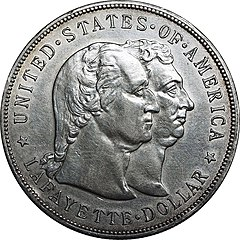 The 1899 Lafayette silver dollar, designed by Charles E. Barber, honors Lafayette and George Washington