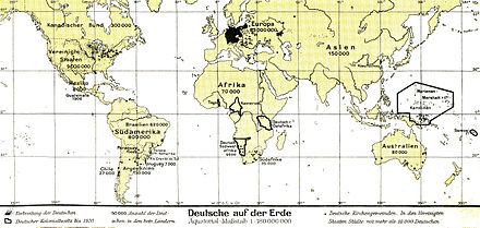 Nearly 100 million people around the world were of German ancestry in 1930 Lange diercke sachsen deutschtum erde.jpg