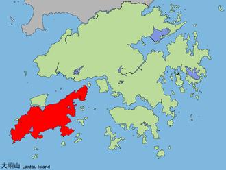 Lantau Island - Lantau Island is highlighted in red.