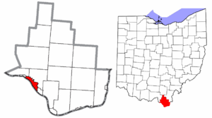Ironton, Ohio - Image: Lawrence County Ohio Ironton highlighted