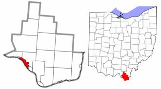 Ironton, Ohio - Image: Lawrence County Ohio Ironton highlighted