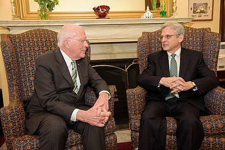 Senator Leahy meeting with Circuit Judge Merrick Garland, March 2016 Leahy Meets with SCOTUS Nominee Chief Judge Merrick Garland 02.jpg