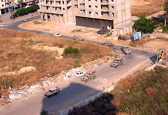 Bab al-Tabbaneh–Jabal Mohsen conflict - Lebanese army convoy patrolling Jabal Mohsen, a few weeks after the 2011 clashes