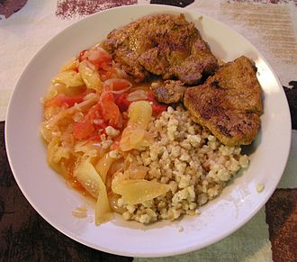 Egg barley - Fried and boiled Tarhonya as side dish
