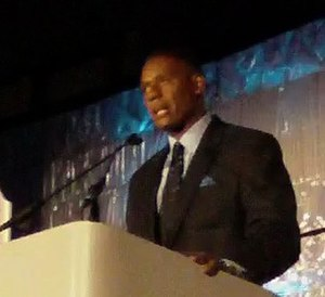 Lewis Johnson - Lewis Johnson, serving as Master of Ceremonies at the USATF Jesse Owens Award banquet
