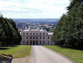 Linton Park - The north side of Linton Park house showing its position on an escarpment and the view beyond
