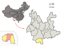 Location of Jinghong within Yunnan (China).png