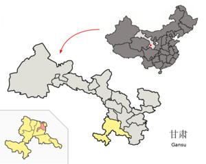 Lintan County - Lintan (pink) within Gannan Prefecture (yellow) within Gansu (grey)