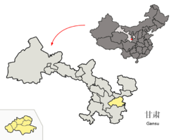 Location o Tianshui Ceety jurisdiction in Gansu