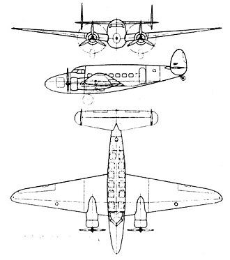Lockheed Model 14 Super Electra - Lockheed 14-H 3-view drawing from L'Aerophile October 1937