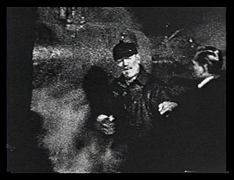 "Still from a 9.5mm home movie made by Wencel Brezinski in March 1929 on the set of ""Thunder"" in Northeastern Wisconsin Lon Chaney - behind the scenes home movie by Wencel Brezinski - 1929.jpg"