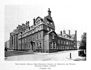 London School of Medicine for Women - Photograph of the London (Royal Free Hospital) School of Medicine for Women, Hunter Street, London.