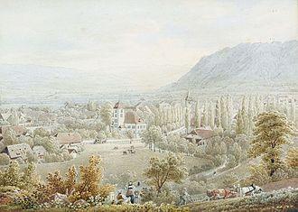 Belp - Painting by Gabriel Lory, Ansicht von Belp