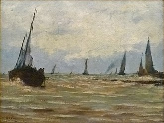 Louis Artan - Seascape with Fishing Boats