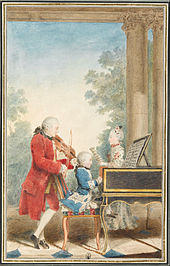 The Mozart family on tour: Leopold, Wolfgang, and Nannerl. Watercolour by Carmontelle, c. 1763[10] (Source: Wikimedia)