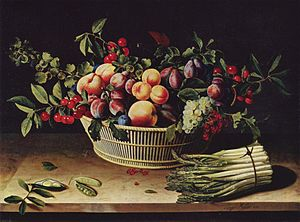 Louise Moillon - Fruit basket with asparagus, 1630.