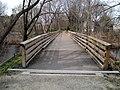 Lower Falls Branch pedestrian bridge deck view, April 2016.JPG