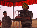 Lt. Gen. A.S. Sekhon addresses a formation of troops at the closing ceremony of Yudh Abhyas 2009.jpg