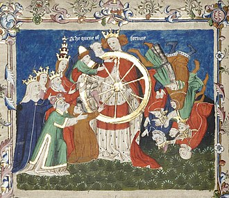 Troy Book - The Queen of Fortune holds the Wheel of Fortune, from an early manuscript of Troy Book
