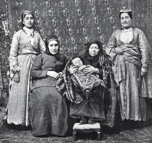 Generation - Five generations of one family—a child with her mother, grandmother, her great-grandmother and great-great-grandmother.
