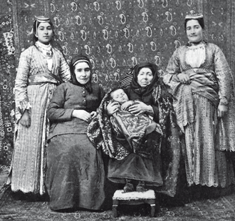 Generation - Five generations of one Armenian family—a child with her mother, grandmother, great-grandmother and great-great-grandmother. (photograph dated from book published in 1901)1