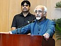 M. Hamid Ansari addressing the gathering after releasing the book 'The Quest for Muslim Reservation' authored by the Leader of Opposition, Telangana Legislative Council, Shri Mohammed Ali Shabbir, in New Delhi.jpg