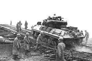 773rd Tank Destroyer Battalion - M10 of the 773rd crossing the Saar outside Dillingen.