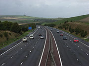 The M4 motorway approaching Junction 15 from the East