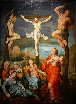 Raphael Coxie - The Crucifixion, attributed to Raphael Coxie or Gillis Mostaert I