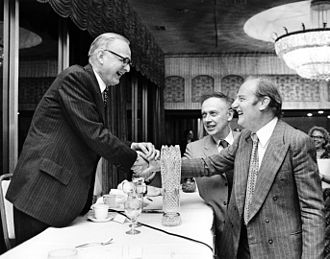 DNA - James Watson and Francis Crick (right), co-originators of the double-helix model, with Maclyn McCarty (left).