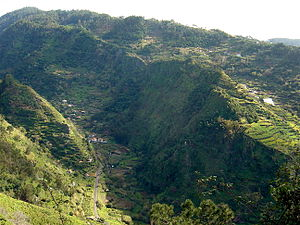 Ribeira Brava, Madeira - The village of Tabua over one of the tributaries of the Ribeira Brava ravine