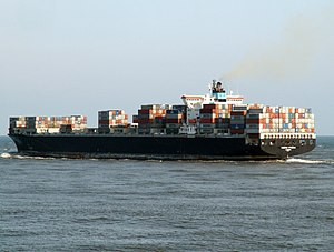Maersk Kyrenia p2, leaving Port of Rotterdam, Holland 12-Mar-2006.jpg