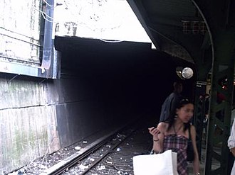 Prospect Park (BMT Brighton Line) - The Malbone Street Tunnel on the southbound local track.