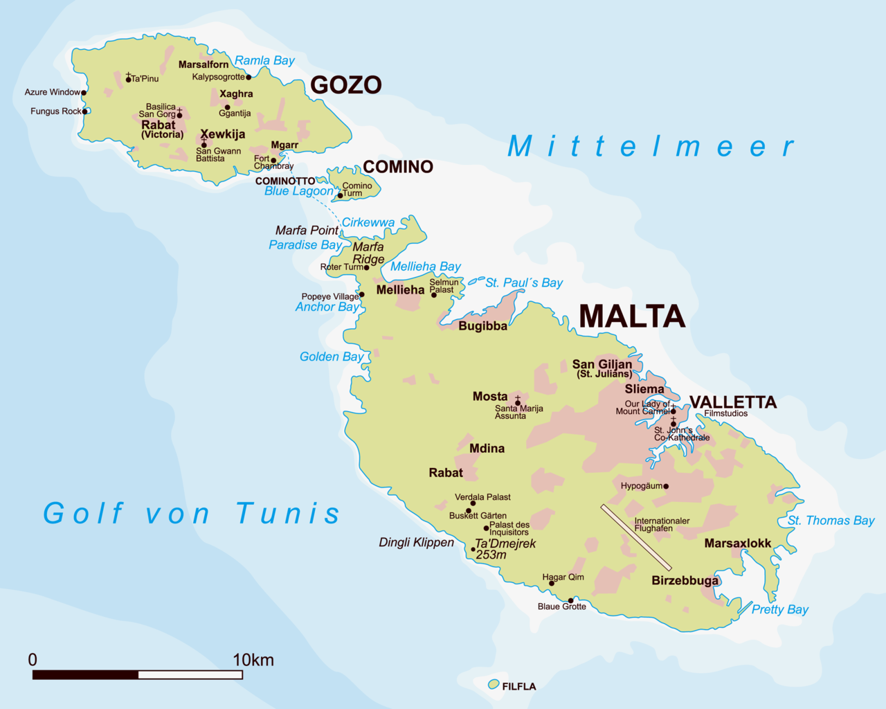 Malta Gozo Map File:Malta Gozo Comino.png   Wikimedia Commons