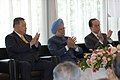 Manmohan Singh with the former Prime Ministers of Japan, Mr. Yoshiro Mori and Mr. Shinzo Abe, at the Reception, hosted by the Japan India Association and Japan India Parliamentary Friendship League, in Tokyo, Japan.jpg