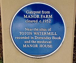 Photo of Manor House, Toton, Toton Watermill, and Manor Farm blue plaque