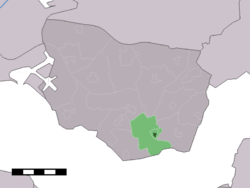 The village centre (dark green) and the statistical district (light green) of Oudelande in the municipality of Borsele.