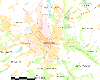 Map of the commune of Montluçon