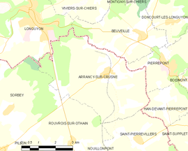 Mapa obce Arrancy-sur-Crusne