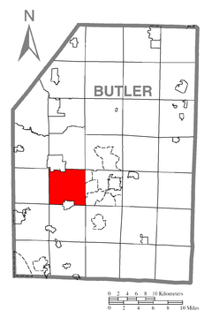Map of Connoquenessing Township, Butler County, Pennsylvania Highlighted.png