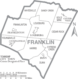 Map of Franklin County, North Carolina With Municipal and Township Labels