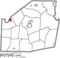 Location of Lynchburg in Highland County