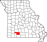 Map of Missouri highlighting Christian County
