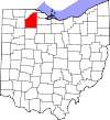State map highlighting Wood County
