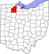 Locatie van Wood County in Ohio