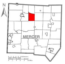 Location of Otter Creek Township in Mercer County