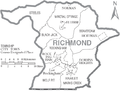 Map of Richmond County North Carolina With Municipal and Township Labels.PNG