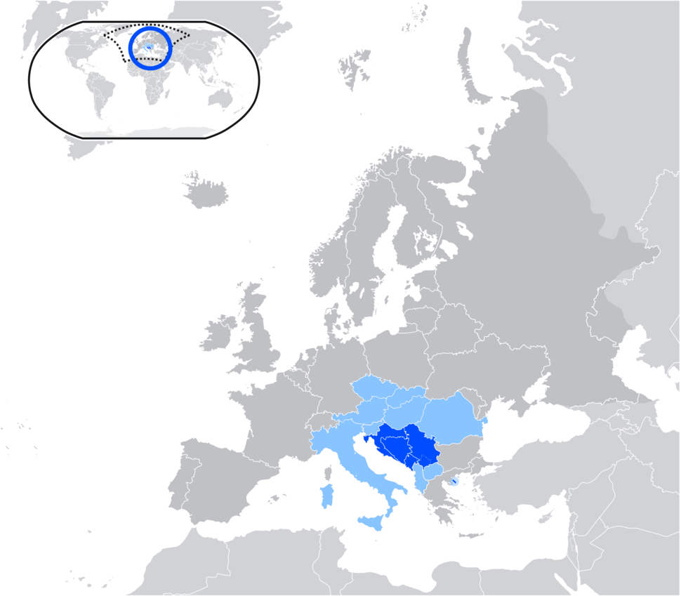 Map of Serbo-Croatian language
