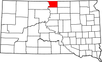 Map of South Dakota highlighting Campbell County
