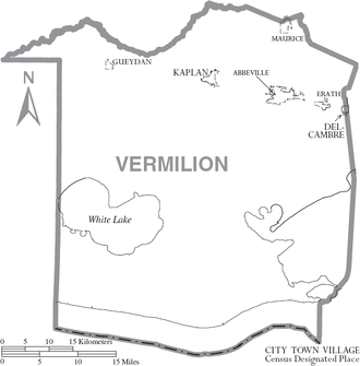 Vermilion Parish, Louisiana - Map of Vermilion Parish, Louisiana With Municipal Labels